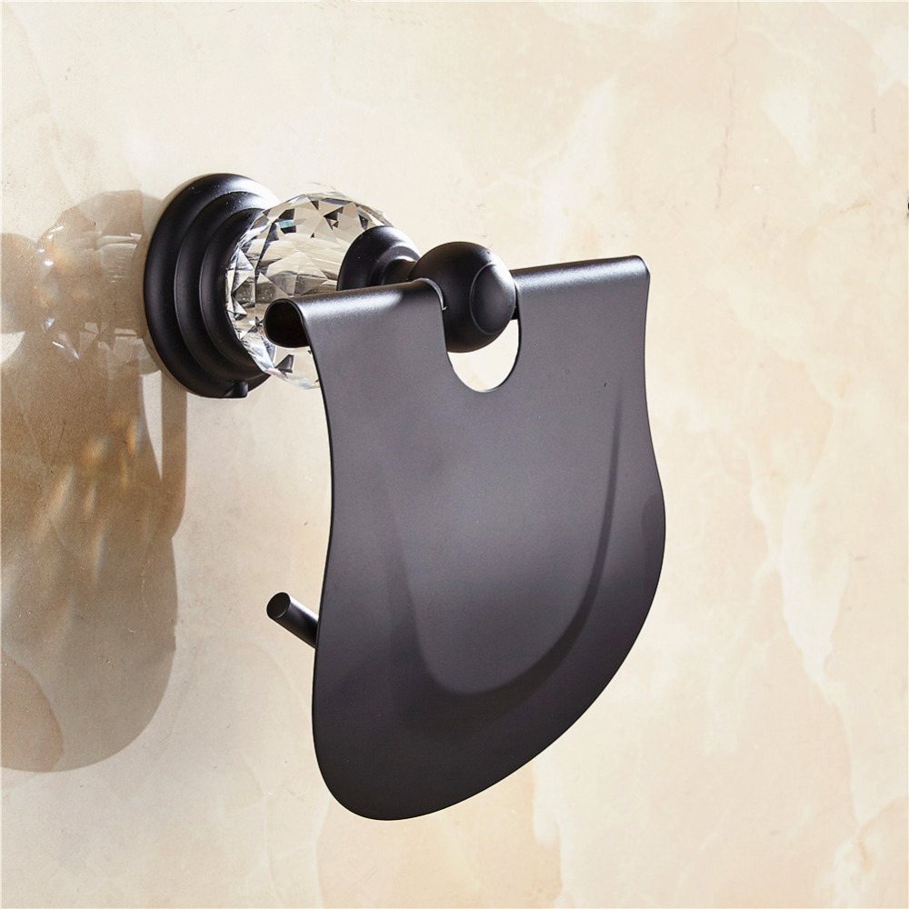 AUSWIND European Black Oil Bronze Toilet Paper Holder With Cover Crystal Zinc Alloy Brushed Finish Wall Mounted Rack Roll square shaped stylish crystal zinc alloy stud earrings black bronze pair