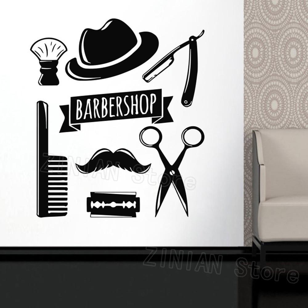 Wall decal window sticker beauty salon face hair salon tools hairstyle style hair man beard barbershop wall sticker razor z376