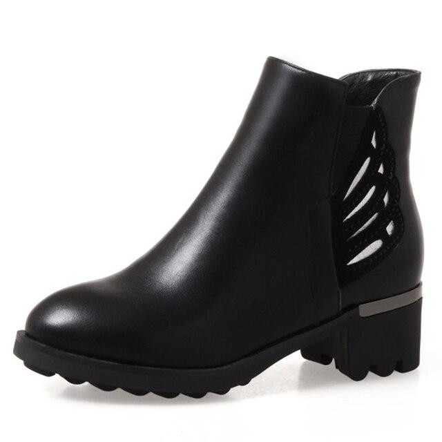 Kalın tabanlı yüksek topuklu yarım çizmeler retro İngiliz tarzı kalın Martin çizmeler ile kürk bir kaymaz sıcak vahşi kadın botları Boşluğu