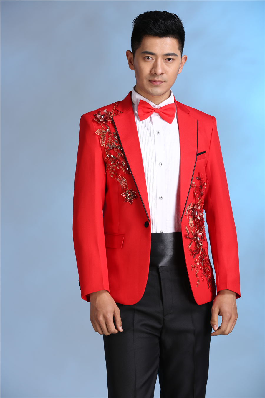 Latest Coat Pant Design Red Blue Pattern Costume Men Suit Slim Fit ...