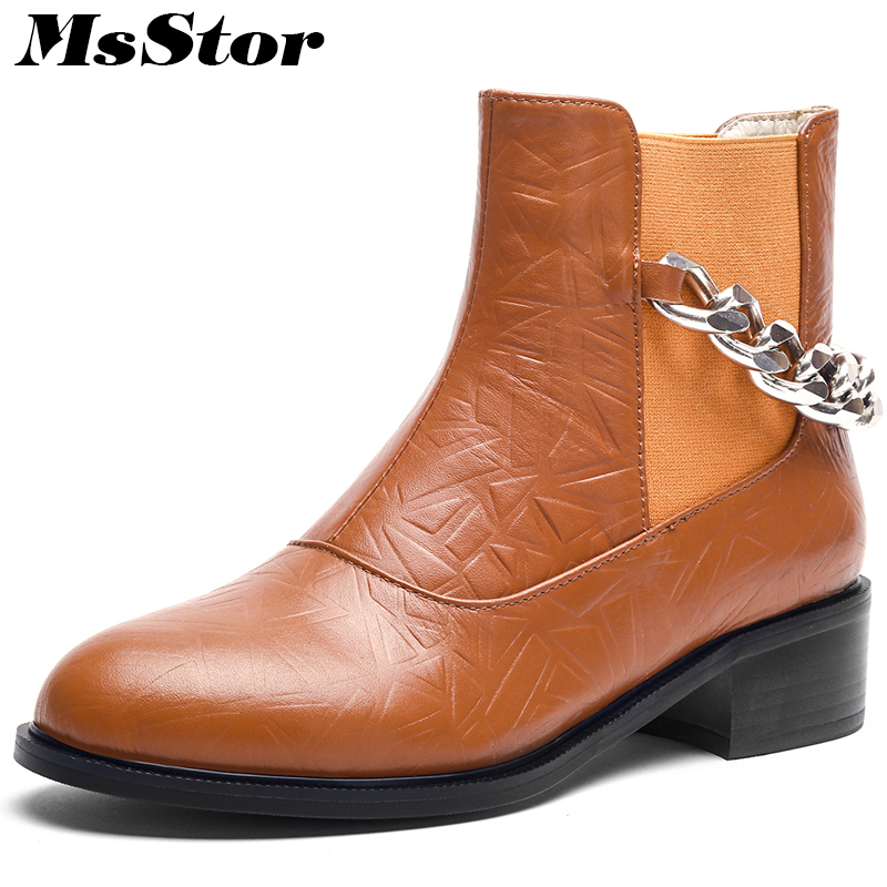 MsStor Women Boots 2018 Fashion Chain Round Toe Med Heel Ankle Boots Women Shoes Elegant Square heel Black Brown Women Boots black women ankle boots handmade vintage medium heel round head shoes elegant boots xiangban