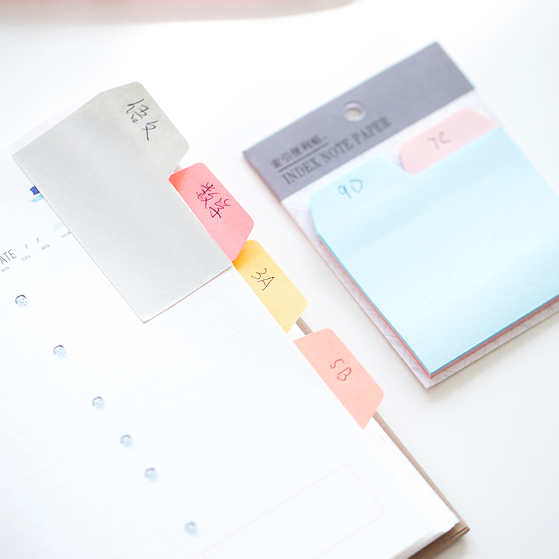2 pcs/Lot Index sticky note 6 color 90 sheet memo pads Mini color sticker for diary Post marker Office School supplies F188