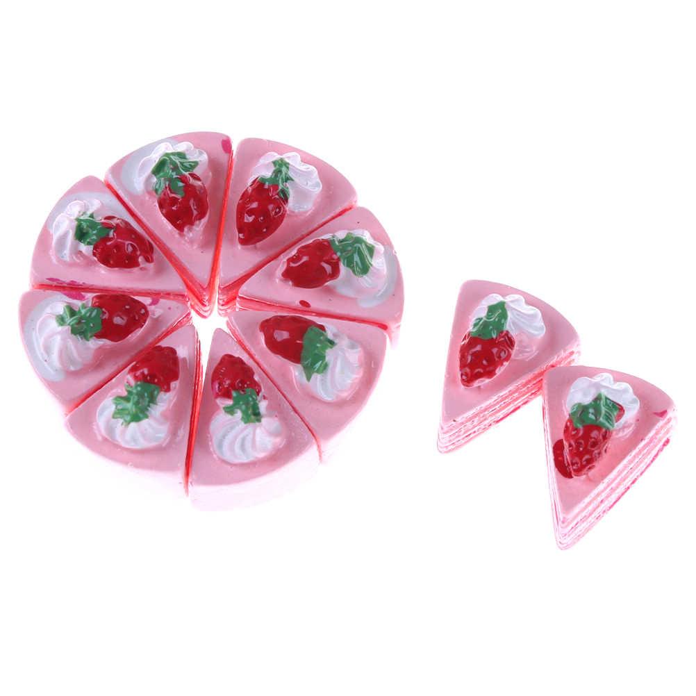 DIY Mix Kawaii Resina Artificial Falso Comida CakeFlat Volta Cabochão Artesanato Decorativo Jogar Brinquedos Casa De Bonecas Em Miniatura 10pcs