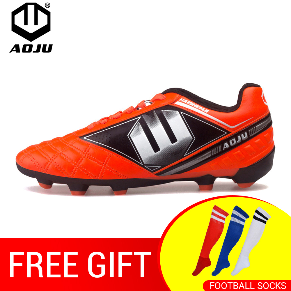 AOJU New Adults Men's Outdoor Soccer Cleats Shoes AG/TF Football Boots Training Sports Sneakers Shoes Size 31 45 Parent Kid
