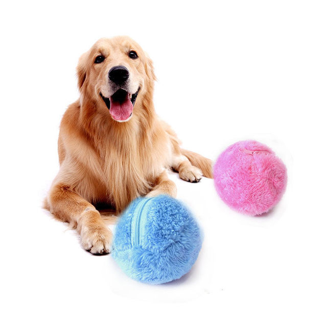 4 Color Set Electric Toy Ball Dog Cat Toy Automatic Pet Plush Ball Activation Automatic Ball Chew Plush Floor Clean Toys Pet 1