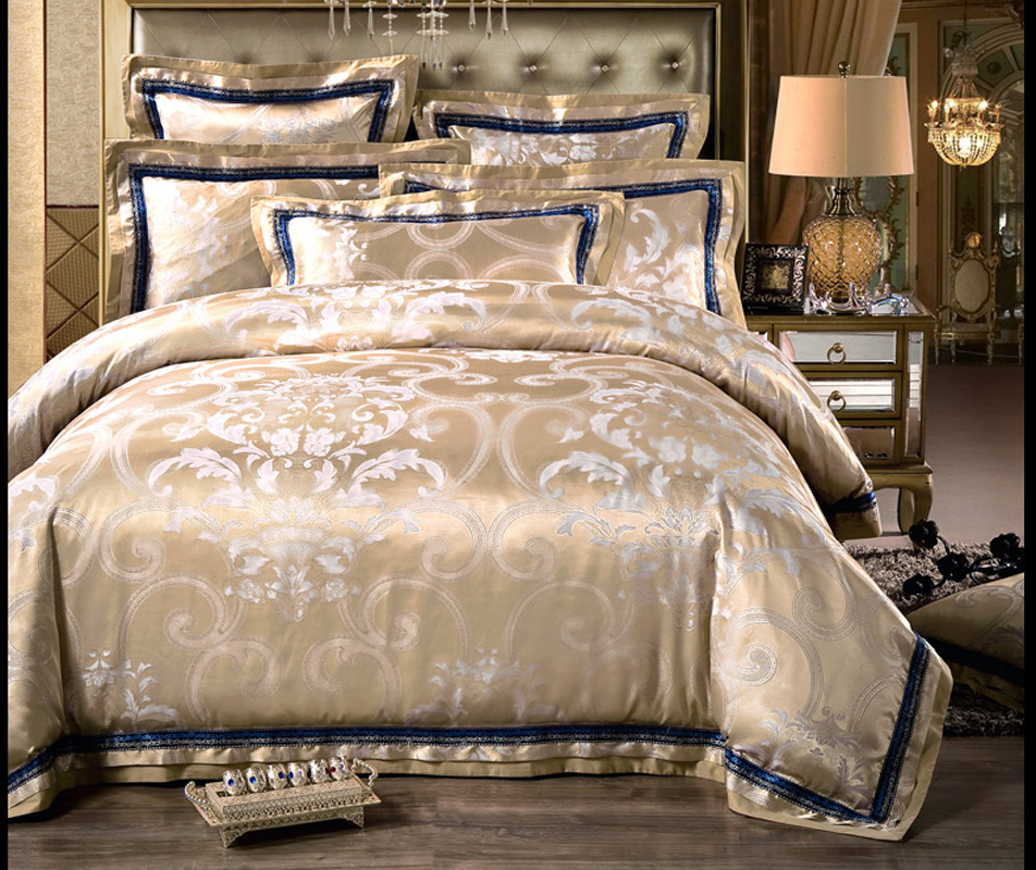 Bedding Sporting Luxury Satin Jacquard Bedding Sets Embroidery Bed Set Double Queen King Duvet Cover Bed Sheet Set Pillowcase 4/6pcs Coffee Red Bedding Sets