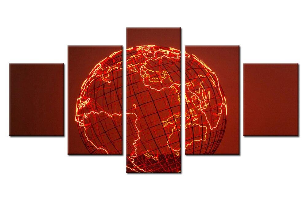 5 Teile/satz Gerahmte HD Gedruckt Rote Erde Brennen Karte Gehirn ...