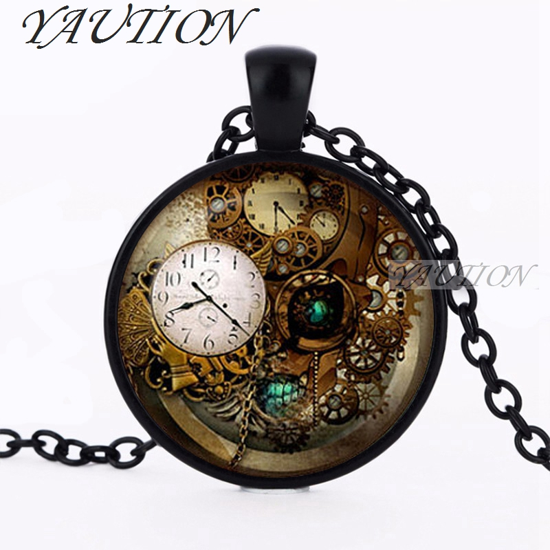 new Steampunk Jewelry Accessories Steampunk Clock pendant Steampunk necklace Collier Steampunk Gears collar wholesale