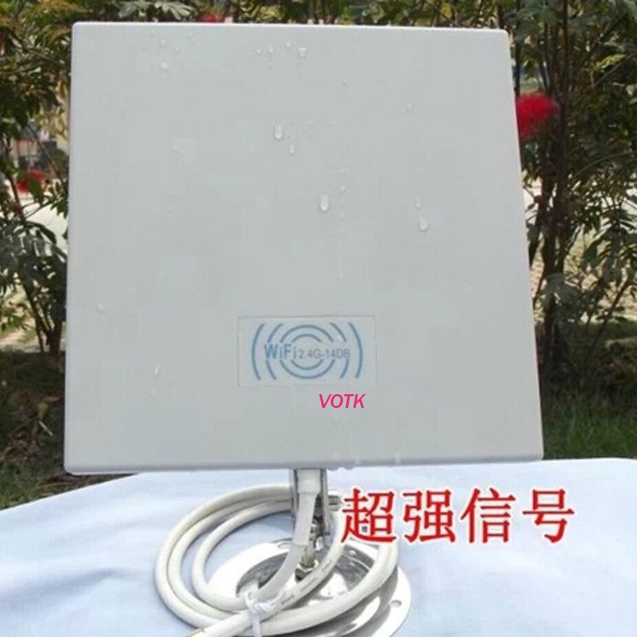 Antenne extérieure de panneau de wifi de 2.4G avec le câble de 75 cm antenne de panneau de 14dB 2.4 GMHz pour le propulseur sans fil de signal de WiFi WLAN 1 pcs/lot