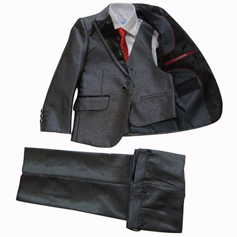 Boys Grey Wedding Tuxedo Jacket Vest Pant 3PCS Formal Suits for Kids Clothes 2-15 Years Children Terno for Party Birthday 2 tuxedo