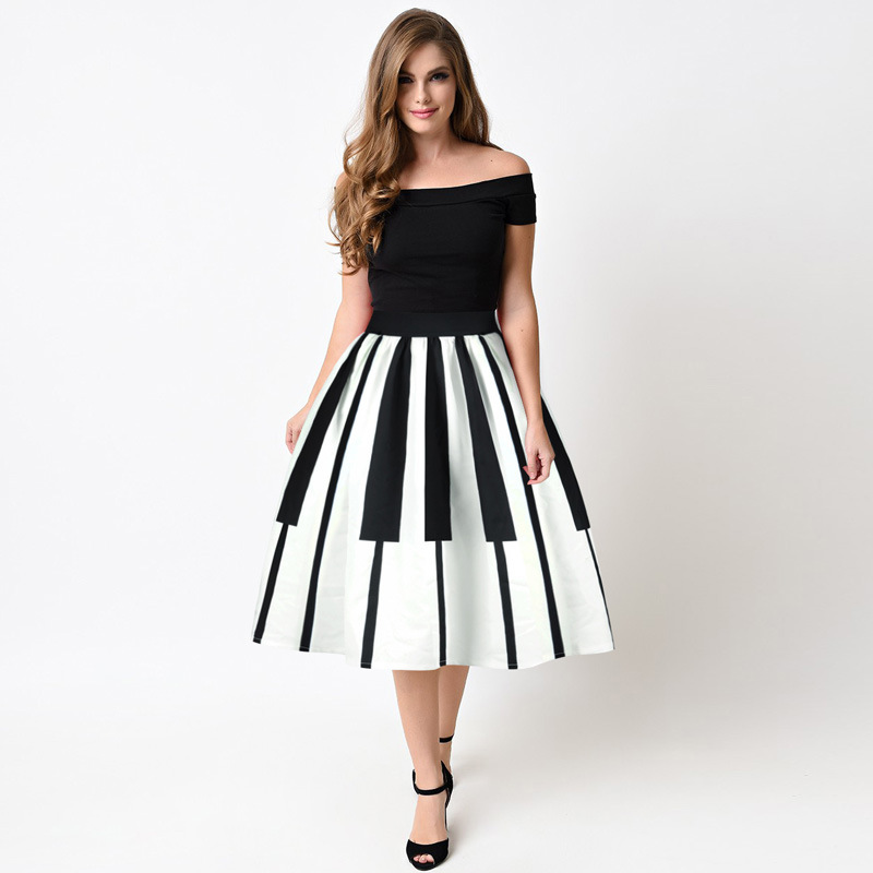 Echoine Women Pleated Skirts Fashion Piano Keyboard Print Ball Gown High Waist Knee Length Casual Women Skirt
