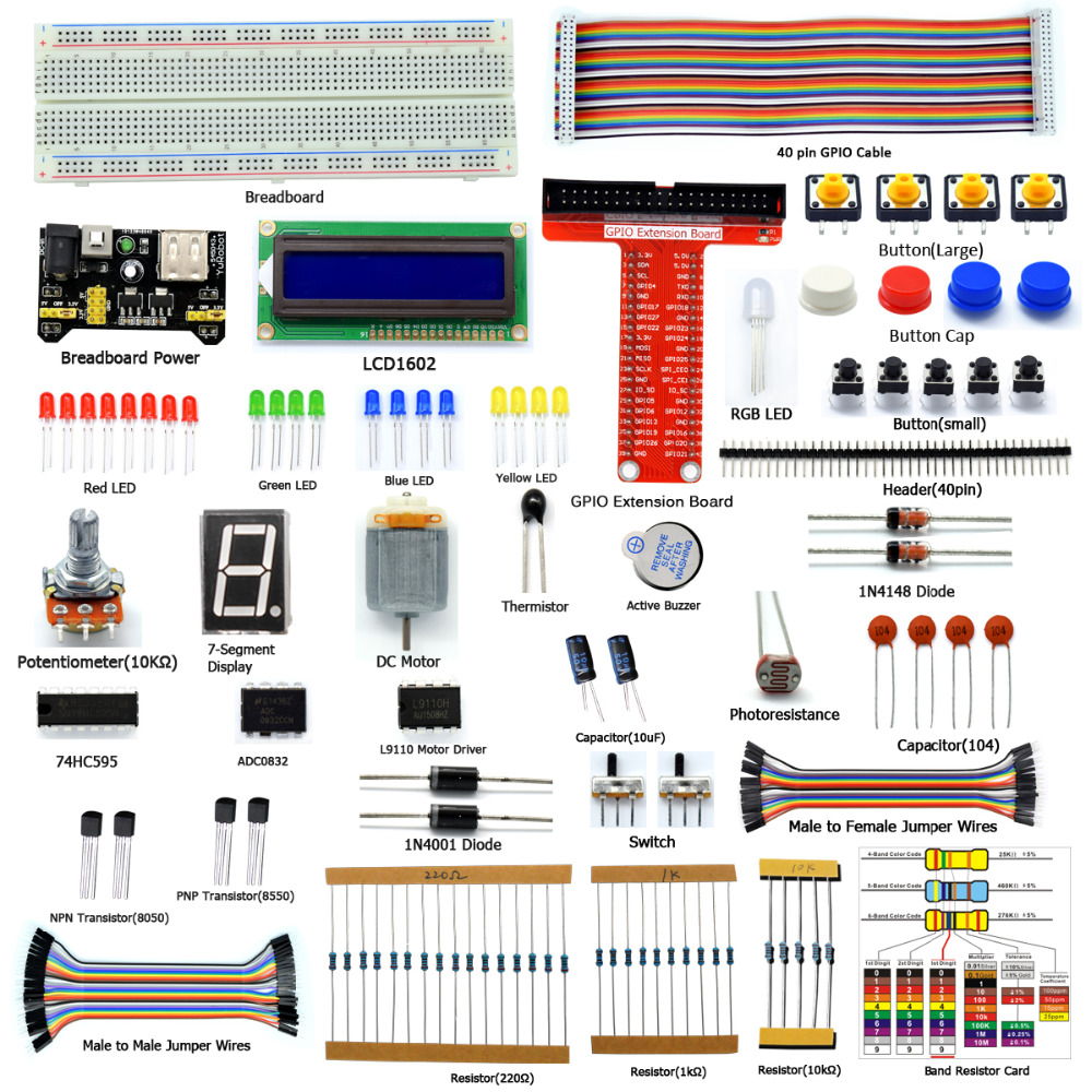 Adeept New Starter Kit pro Raspberry Pi 3 2 Model B / B + Python s příručkou Book 40-Pin GPIO Board Book sluchátka diy diykit