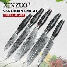 Xinzuo 5 шт. кухонный нож набор Дамасская сталь кухонный нож из нержавеющей стали японский нож шеф-повара pakka деревянной ручкой кухонный инструмент