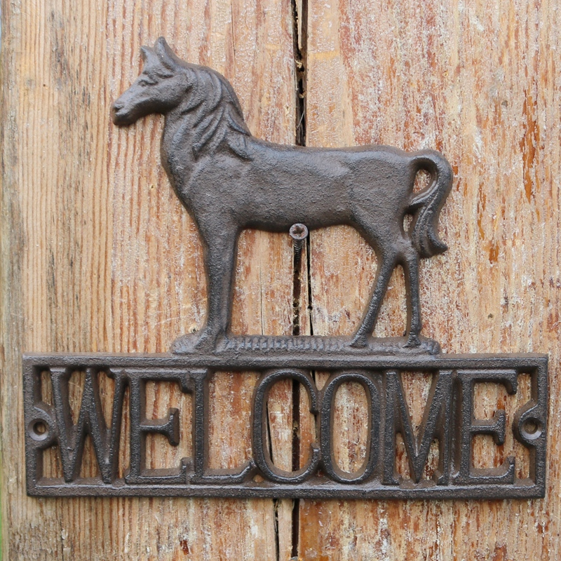 Cheval Antique européen conception maison jardin décor bienvenue signes Plaques plaque