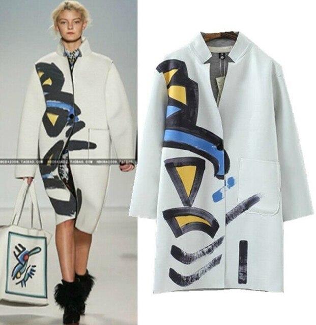 Пальто Для Женщин 2016 Осень Марка Дизайн Искусство Геометрическая Живопись Отпечатано Длинное Пальто Белый abrigos mujer blusa