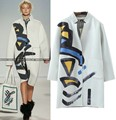 Trench Coat For Women 2016 Autumn Brand Design Art Geometric Painting Printed Long Coat White abrigos mujer blusa