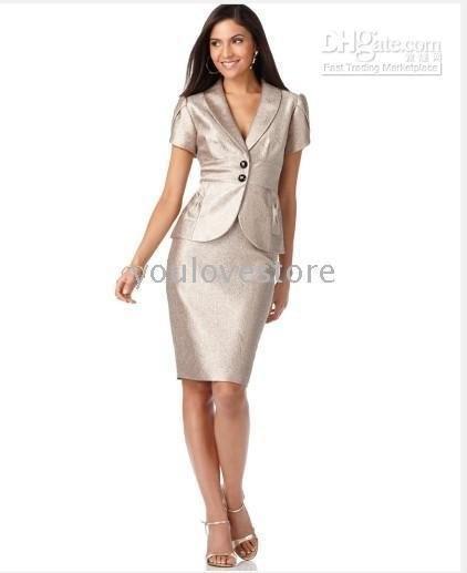 Glossy Sliver Women Skirt Suit Women Business Skirt Suit Ladies