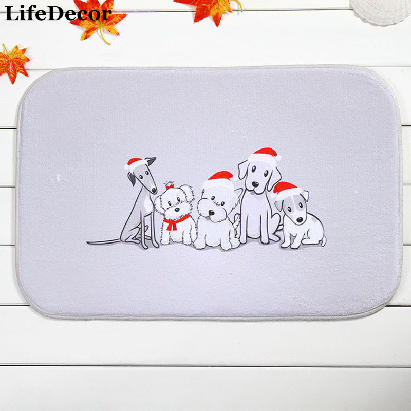 New 40x60cm Christmas Multi Dogs Bath Mat Non-slip Mats Quality coral velvet Rug Shower Carpet for Bathroom Kitchen