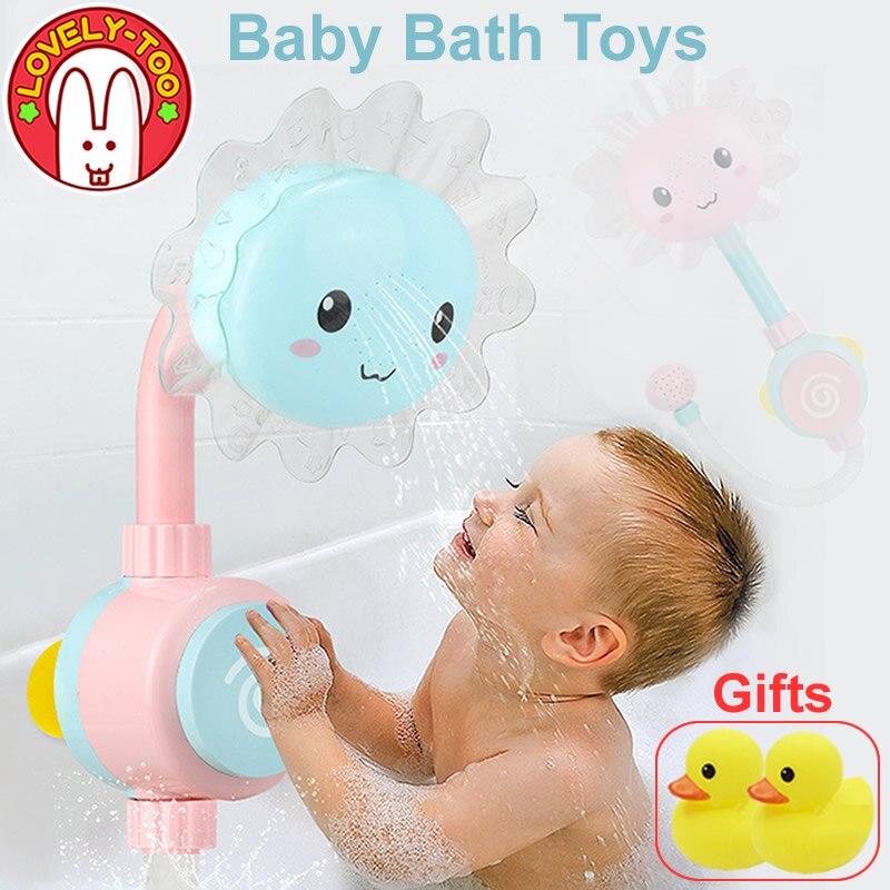Bebé de juguete de baño bañera ducha de baño salidas tontos plegable Spray grifo jugar agua de baño juguetes para los niños