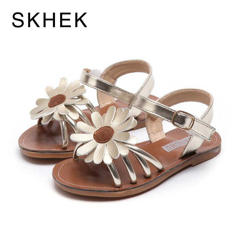 SKHEK New Children Girls Summer Shoes Kids Sandals for Girls PU Leather Flowers Princess Shoes Girls Sandals Black Gold Pink
