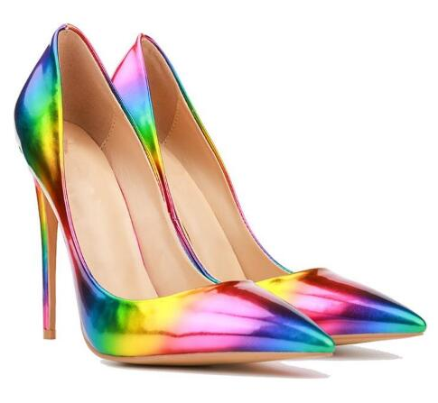 Colorful bright surface pointed toe high heel pumps for women Ladies shallow thin heel shoes High heels Sexy super high heels odetina brand sexy women pointed toe slingbacks pumps summer ladies super high heels black women thin stiletto heel dress shoes