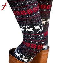 Feitong, рождественские леггинсы для женщин, женские повседневные Эластичные Обтягивающие эластичные штаны леггинсы, брюки, леггинсы, calzas mujer
