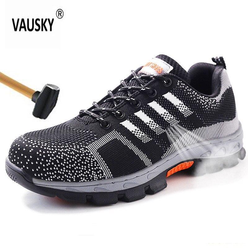2019 Mode Unzerstörbar Schuhe Männer Stahl Nase Sicherheit Arbeit Schuhe Atmungsaktiv Männer Schuh Turnschuhe Anti-piercing Tragbare Schutz Schuhe