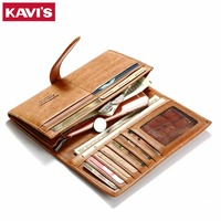 KAVIS Lady Genuine Leather Women Wallet Female Long Design Male Coin Purse with Walet Portomonee Rfid And Clutch Handy for Girls