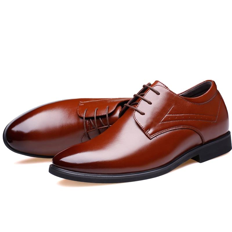 Nouveaux Black Mariage 2019 leather Chaussures Brown Noir Hauteur Dentelle Black En De height Hommes Cuir Dropship height Formelle Classique Accroître Leather Misalwa D'affaires Brown Ascenseur Up F8xwHFX