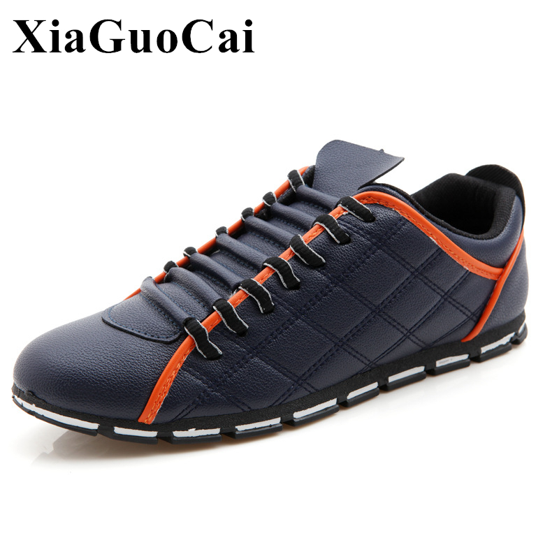 Spring British Style Causal Shoes Men Breathable Pu Leather Lace-up Falts Shoes Fashion Men Leisure Shoes for Male H148 35