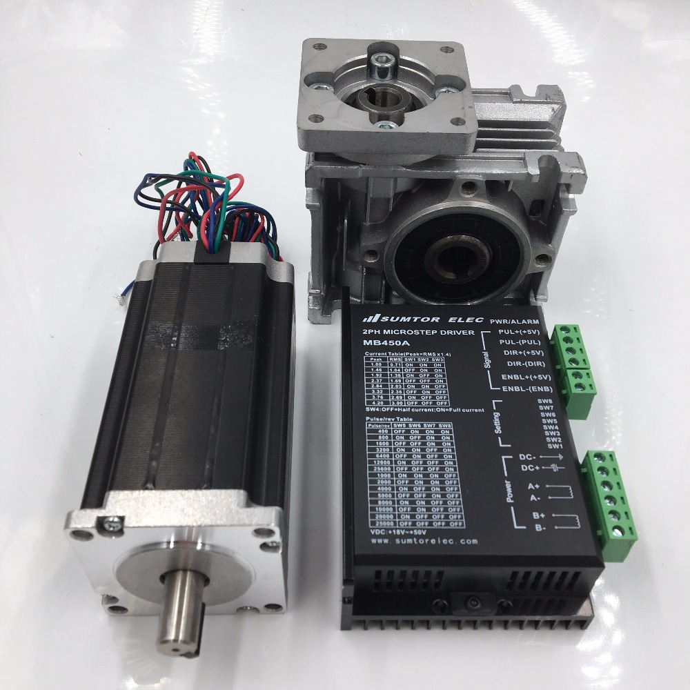 Ratio 20:1 Worm Geared Reducer NEMA23 Worm Gear Stepper Motor 2.8Nm L112mm 3.0A 4 Leads with Stepper Driver for CNC Router planetary nema23 geared stepper motor l112mm gearbox ratio 30 1 90nm stepper speed reducer cnc router engraver