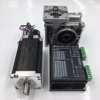 Ratio 20:1 Worm Geared Reducer NEMA23 Worm Gear Stepper Motor 2.8Nm L112mm 3.0A 4 Leads with Stepper Driver for CNC Router