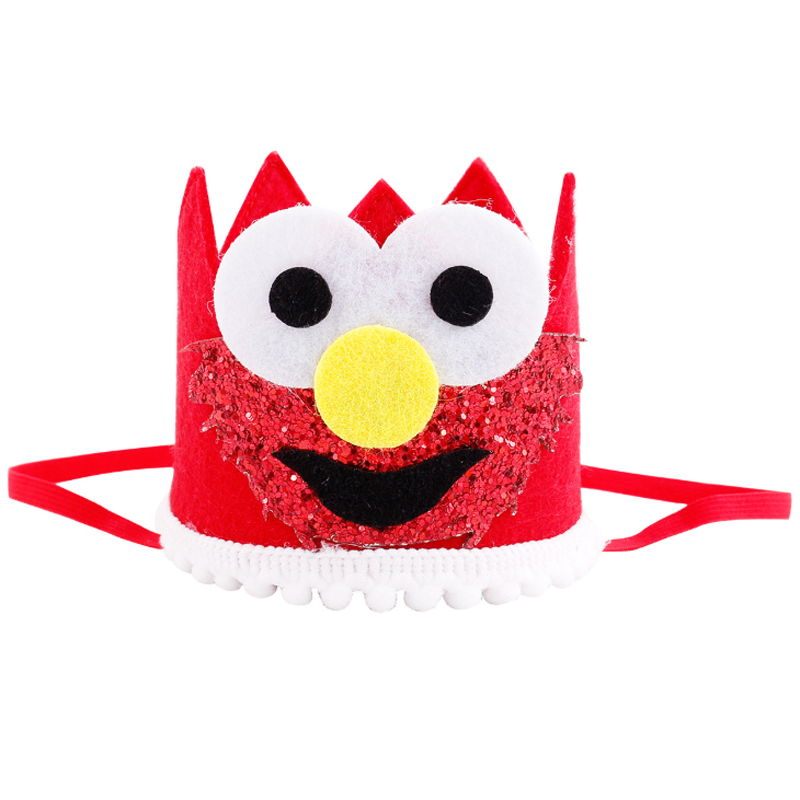 1 Pcs Creative New Sesame Street Smile Face Birthday Hat Baby Blue Pink Crown Year Old Party Glitter Headband