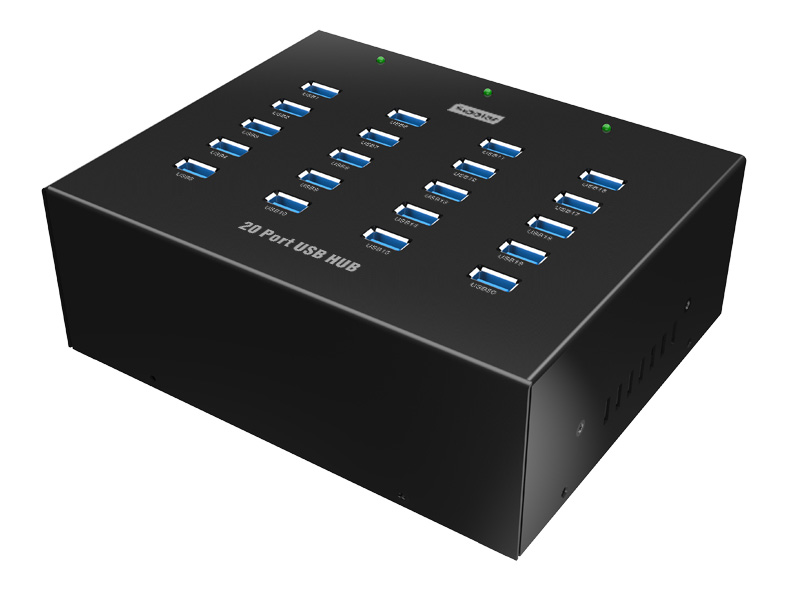 20 Port Metal Industrial Din Rail Mountable Super Speed USB 3.0 Hub