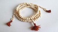 bro814 тибетский четки 108 бежевый белый кости яка молитва бусины и бисер мала человек амулет цепочки и ожерелья буддийский