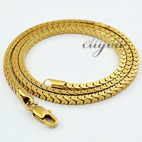 New Fashion Jewelry 3mm Mens Boys Box Link Chain Yellow Gold Color