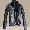 Autumn vintage denim jacket male slim denim outerwear male denim coat
