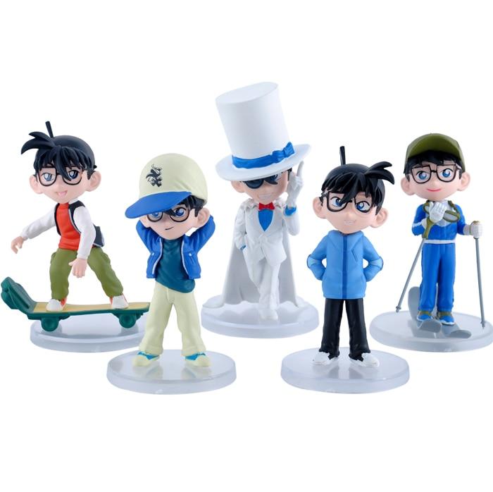 5pcs/set 13cm magic Kaitou Kid Conan Action Figures Anime PVC brinquedos Collection Figures toys AnnO00688H