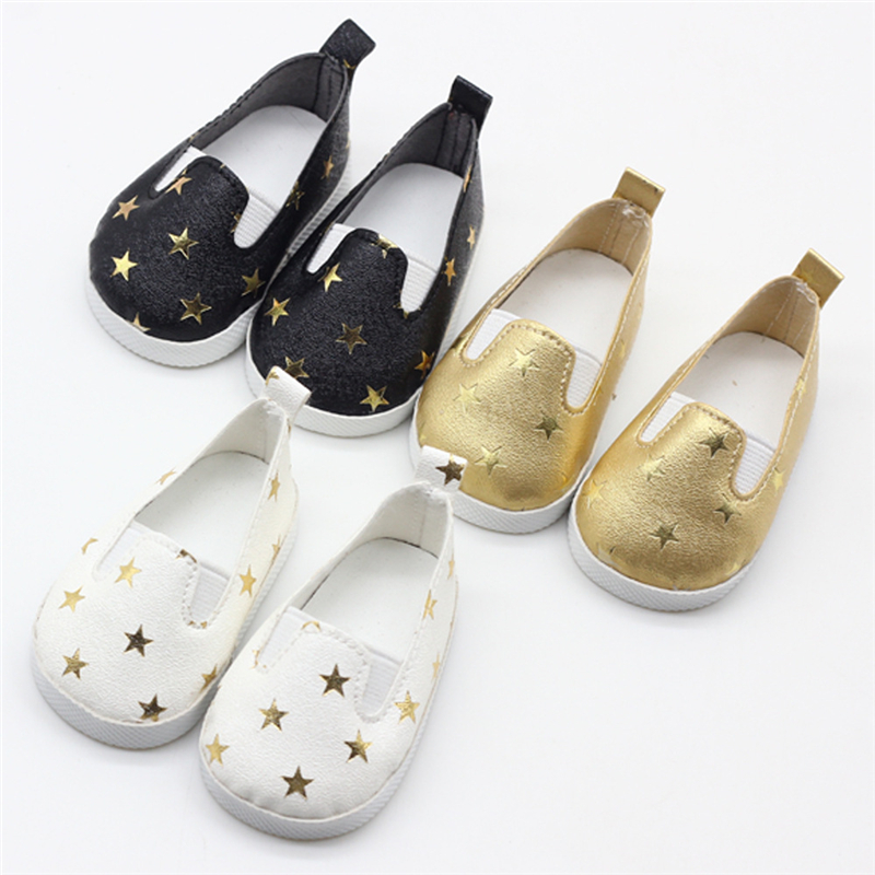 Glitter Shoes For Dolls Five-pointed Star Sequins Shoe For 18 Inch Our Generation Doll Accessories American Doll Girl Shoes