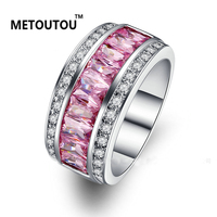 METOUTOU Sterling Silver Jewelry Multi Colour Crystal Zircon 925 Sterling Silver Jewelry Wholesale Retail Ring For