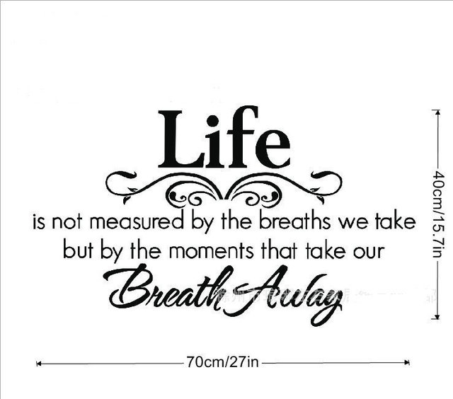LIFE IS NOT MEASURED BY BREATHS WE TAKE BREATH AWAY Quote Vinyl Wall Extraordinary Life Is Not Measured Quote