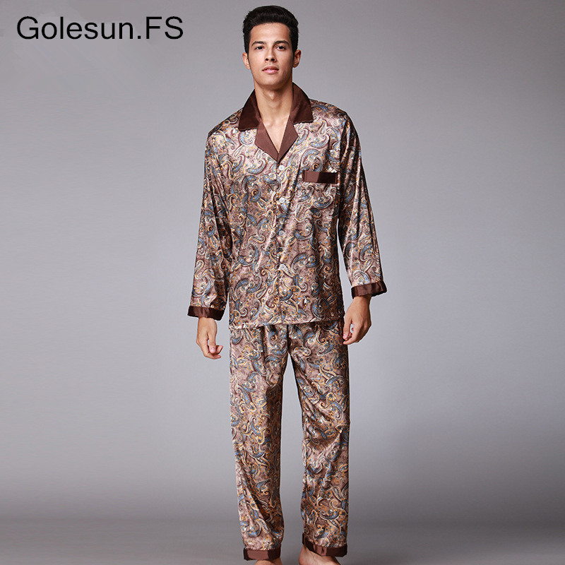 Men Breathable Faux Silk Tops and Trousers Sets Lounge Homewear Sleepwear Set