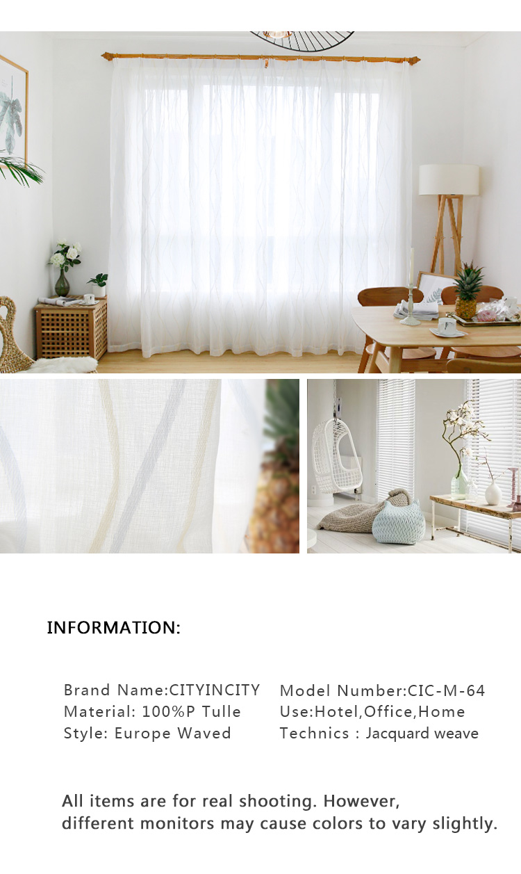 CITYINCITY  JAQ Tulle Waved Curtains For Living room Voile Sheer 3d White Curtain for bedroom Dinning room Ready made Customized_02
