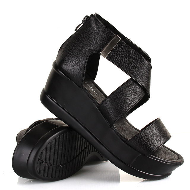 2013 platform sandals genuine leather black white gladiator wedges comfortable open toe sandals young girl shoes