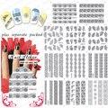 2015 90 UNIDS/LOTE BLE1500-1510 El Negro Delgado Lace Nail Art Stickers Tips de Uñas Postizas de Diseño de Uñas de Arte de Uñas Agua Arte calcomanía
