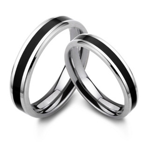 Black Silver 925 Rings Sterling Wedding Band Promise Ring Jz29