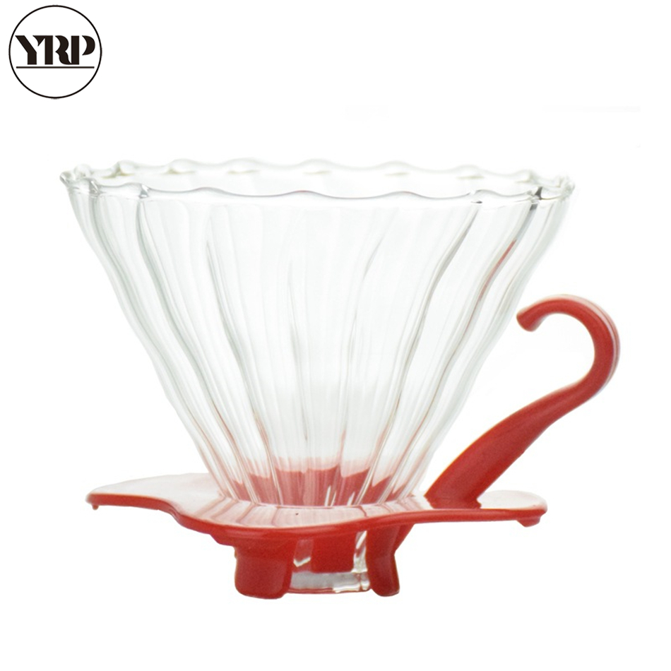YRP DIY 2Colors V60 Heat-resistant Glass Permanent Coffee Maker Filter Holder Coffee Dripper Reusable Strainer Tea Leaf  Filter