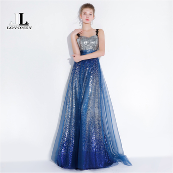 LOVONEY A Line Sweetheart Sequins Long Evening Dress 2018 New Arrival Formal Dress Women Occasion Party Dresses Prom Gown YS422 Evening Dresses