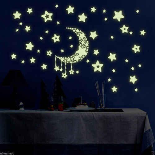 Светится в темноте флуоресцентные настенные наклейки светящиеся звезды луна украшения спальни