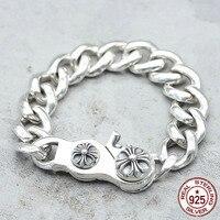100% s925 серебро браслет моды классические Личность ювелирные изделия в стиле панк властная крест, алфавит Стиль 2018 Новый стиль